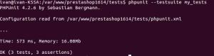 Resultado de la ejecución de PHPUnit en Prestashop