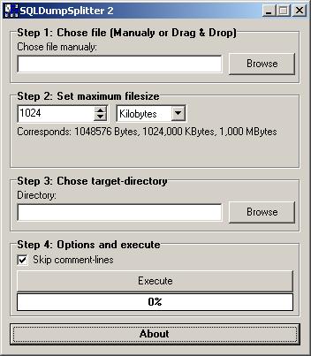 Cómo dividir ficheros SQL
